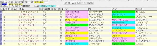 日経新春杯 2016 血統表