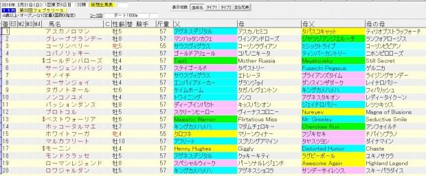 フェブラリーステークス 2016 血統表
